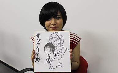漫画家の寺山マルさんが描いた色紙